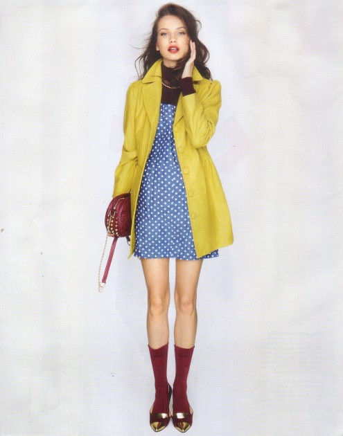 Sunny Girl polka dot pinni & mustard coat